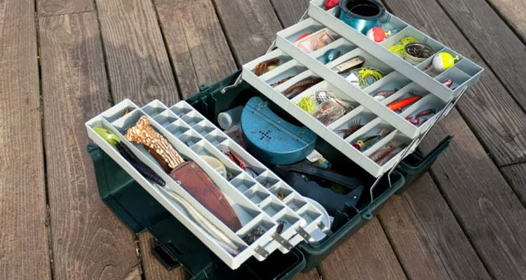 Tackle box with fishing stuff